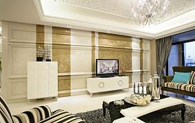 面积77平欧式二居客厅装修实景图片欣赏