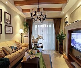 2018精选面积77平小户型客厅美式效果图片