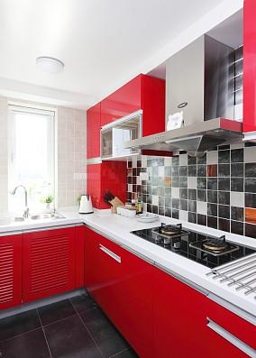 简约风格婚房红色厨房效果图
