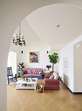 地中海风格客厅条纹沙发效果图