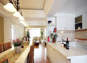 田园风格开放式厨房吧台效果图