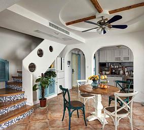 地中海风格餐厅木吊顶装修效果图