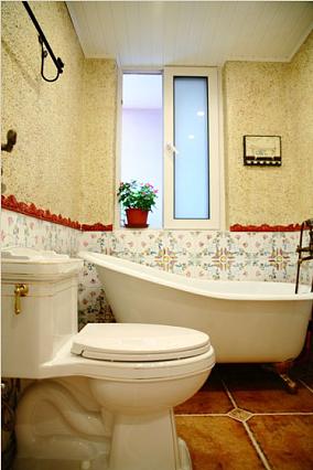 欧式田园风格卫生间拼花墙砖装修效果图