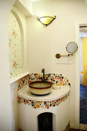 欧式田园风格卫生间洗手池装修效果图