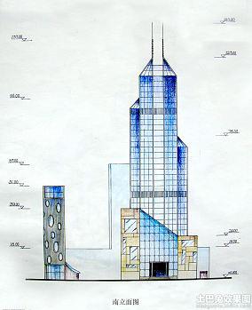 手绘建筑立面图图纸