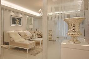现代风格米白客厅艺术玻璃隔断效果图