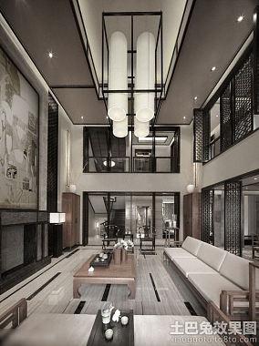 中式风格别墅大厅装修效果图