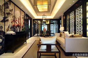 新中式三室两厅客厅古画背景墙