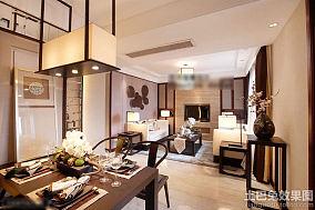 新中式80平米小户型餐厅方形吊灯设计