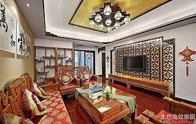 中式风格100平米两室两厅客厅装修效果图