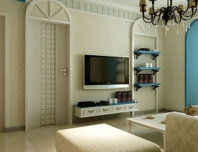 面积80平地中海二居客厅效果图片欣赏