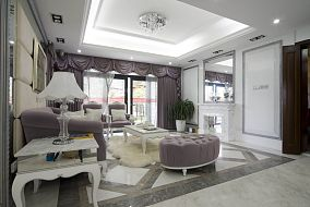 欧式风格二居室豪华装修客厅设计