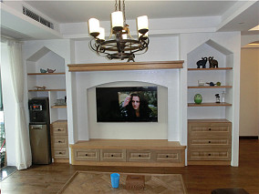 热门面积82平美式二居休闲区装饰图片