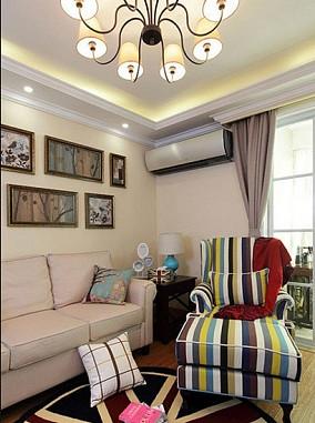 热门面积79平小户型客厅美式装修实景图片大全