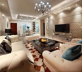 新古典风家庭装修客厅电视背景墙设计