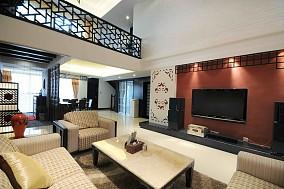 面积110平复式客厅中式装修设计效果图片