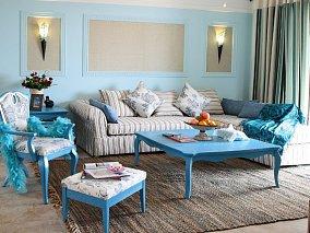 热门78平米地中海小户型客厅装修图