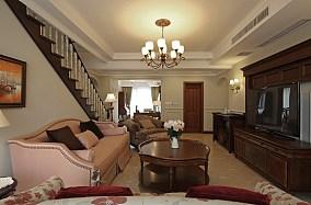 美式风格小客厅电视背景墙设计效果图