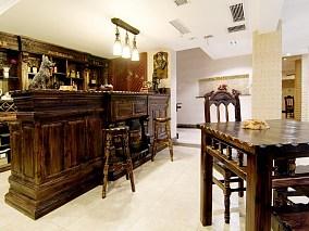 美式复古风格豪华吧台装修效果图