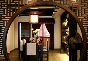 中式餐厅半圆隔断装修效果图