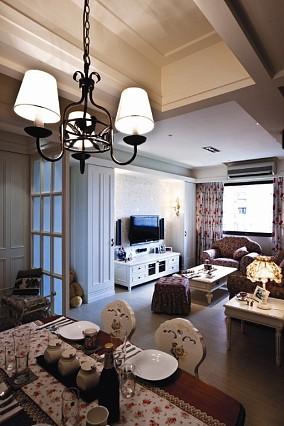 田园美式风格客厅电视背景墙效果图设计