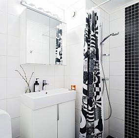 简约风格卫生间浴帘装修图片