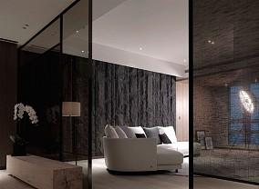 现代深色系大气三居室设计