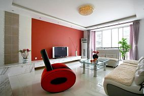 时尚红白现代二居装潢案例