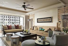 现代简约三居室室内家装效果图片