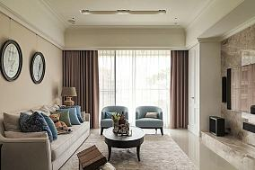 美式设计120平米三室两厅效果图欣赏