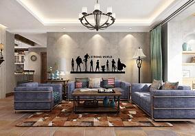 美式乡村风格四居室装修效果图片