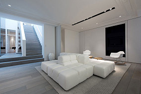黑白复式家装客厅效果图片