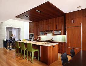 深色系厨房效果图
