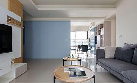 清新蓝色调北欧风格三居室装修效果图