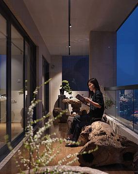 温馨雅致中式风格阳台装修效果图