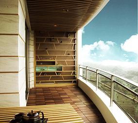 中式阳台茶室装修