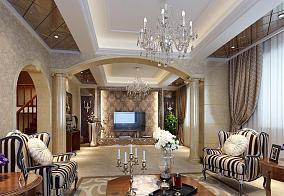 欧式客厅罗马柱装修效果图