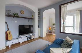 混搭风蓝色清漾一居室效果图