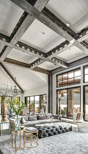 白色格栅吊顶客厅