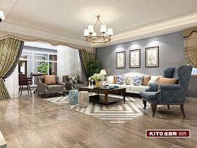 美式大户型二居室设计效果图