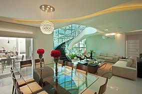 客厅餐厅楼梯一体效果图