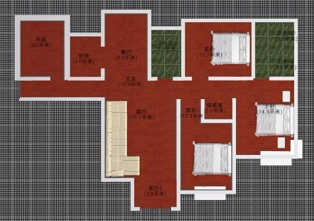 全中式设计,抛釉瓷砖,实木家具仿古吊灯