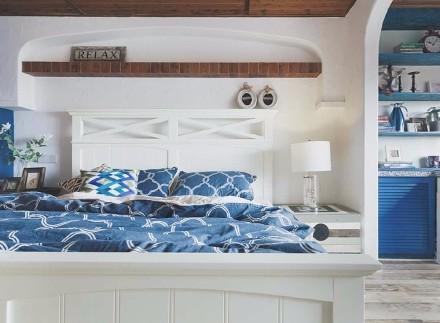 63㎡地中海|拥抱希腊的午后静谧卧室