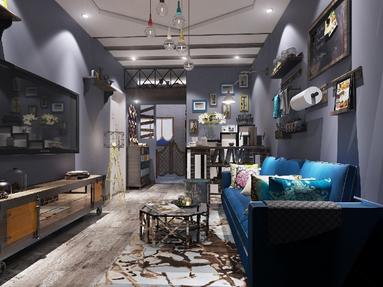 60平Loft风格装修客厅效果图