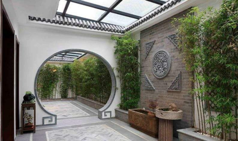 别墅一座房子三个院子咫尺山林功能区瓷砖中式现代功能区设计图片赏析