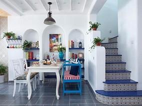 地中海风复式,邂逅蔚蓝厨房1图地中海设计图片赏析