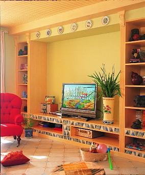100㎡色彩斑斓家居,温馨优雅!客厅地中海设计图片赏析