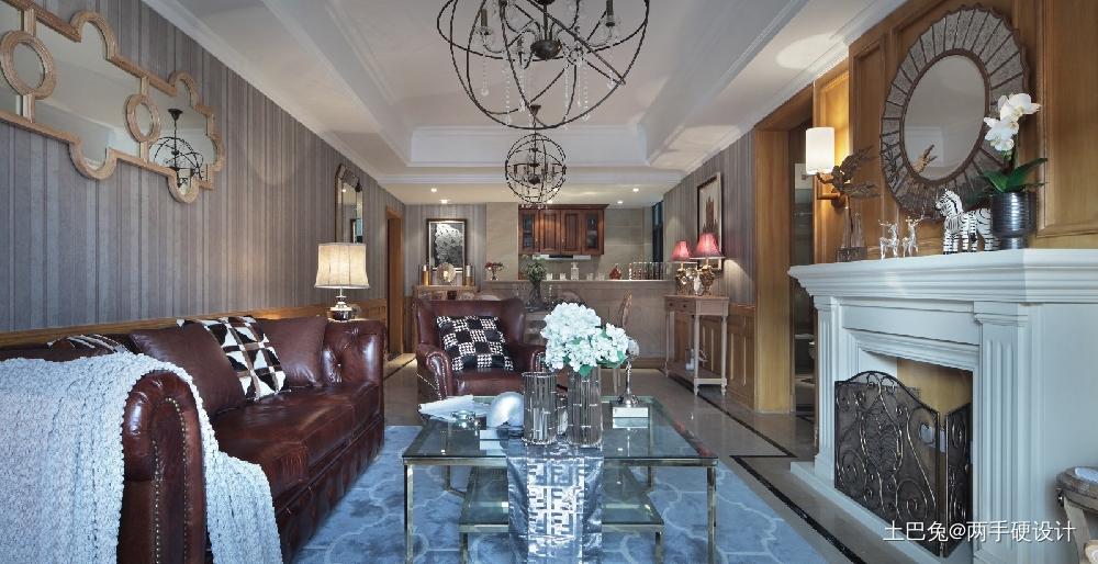 109㎡田园美式风格打造有格调的家!客厅美式经典客厅设计图片赏析