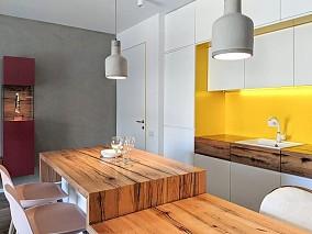 90㎡有着奇妙色彩设置的四口之家餐厅北欧极简设计图片赏析