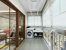 潮白河120平米三居简约中式风格阳台中式现代设计图片赏析
